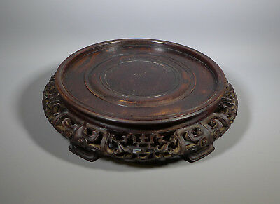 Very Fine Large Antique Carved Chinese Wooden Vase Stand To Fit 8 Inch Foot Rim