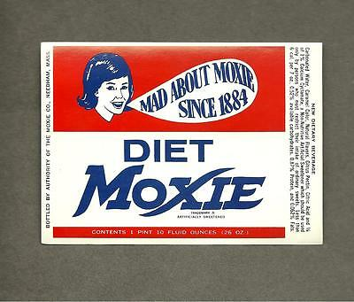 Diet Moxie Label Large 26 Oz. New Old Stock Vintage 1960's Mad About Moxie