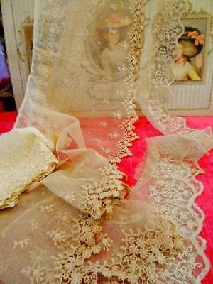 Three Lengths Stunning Antique Tulle Bridal Lace ~ Sewing Projects ~ C.1890