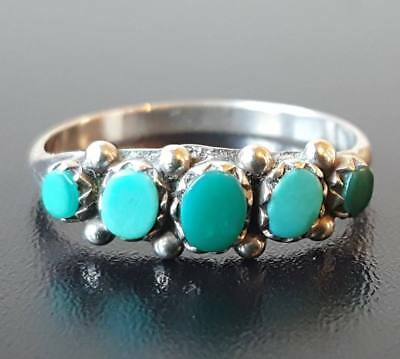 Antique Victorian Sterling Silver Turquoise Ring Size Uk R