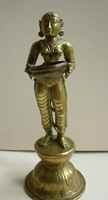 South Indian Chola style Brass Figure of the Goddess Dipalaksmi, 19/20th Century