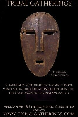 A Very Rare Old Kumu Divination Society African Mask, African Art