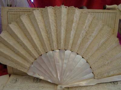 Stunning Antique Mother Of Pearl Brussels Appliqué Fan  C.1880