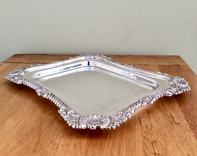 "Large Antique WALKER & HALL 13"" Silver On Copper Calling Card Tray C1897 1.25 Kg"