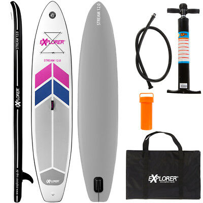 EXPLORER SUP BOARD STAND UP PADDLE SURFBOARD 366x81x15 AUFBLASBAR SURFBRETT AQUA