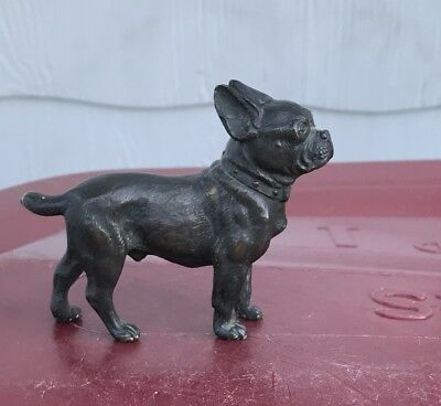 1920's Austrian Bronze French Bulldog / Boston Terrier Dog Figurine