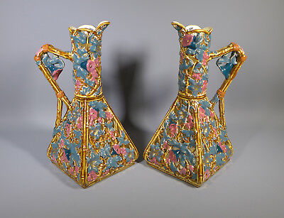 Fine Pair Of Antique Reticulated Austro Hungarian Zsolnay Pecs 9 Inch Ewers Jugs