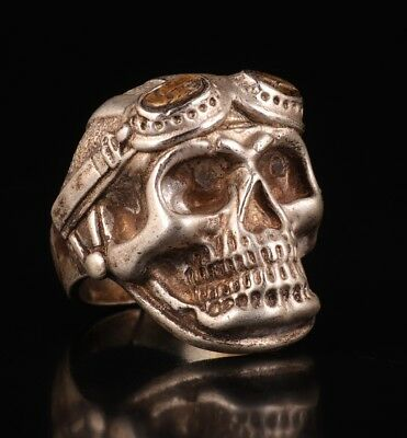 Tibet Silver Gift Accessories Ring Old Skull Statue Magic Crafts China T 1/2