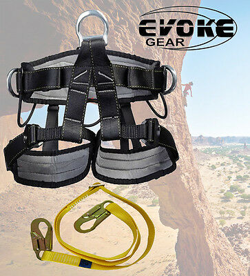 ProTree Fall Protection Rock Climbing Rappelling Harness And Lanyard
