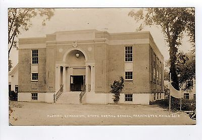 1935 FARMINGTON MAINE RPPC Real Photo Postcard ALUMNI GYMNASIUM Normal School ME