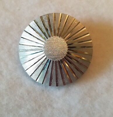 "Unbranded Silvertone Round Abstract Ray Design Scarf Clasp 1 1/4"" Dia"