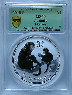 PCGS Secure 2016-P Australia YEAR OF THE MONKEY $1 MS69 Silver 1oz Ag 30th-Label