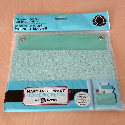 Martha Stewart Home Office with Avery Small Shagreen Wall Pocket 8 x 7-1/4 Blue