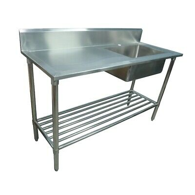 1700x600mm NEW COMMERCIAL SINGLE BOWL KITCHEN SINK #304 STAINLESS STEEL BENCH E0