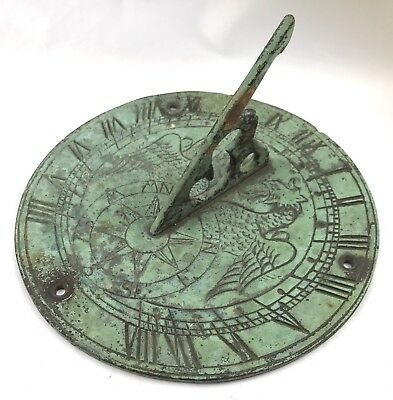 Lovely Vintage Old Metal Sun Dial With Eagle Engraving