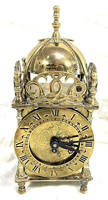 Superb Brass Cased Lantern Clock By Smiths 8 Day Made In England