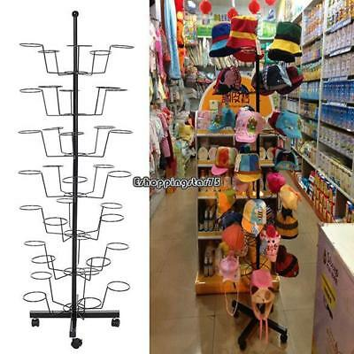 7 Tier Hat Display Rack Stand Rotating Adjustable Metal Floor Stand Baseball Cap