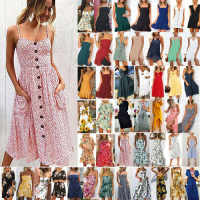 AU Women Floral Boho Sundress Summer Holiday Beach Party Strappy Maxi Mini Dress