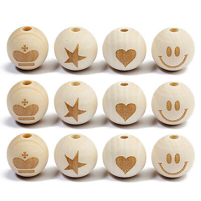 "20PCs Natural Round Baby Teether Wood Beads 20mm (3/4"") for DIY Jewelry Making"
