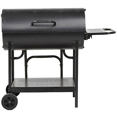 Tesco Double Sided Oil Drum BBQ Charcoal Barbecue With Hinged Lid & 2-Wheels