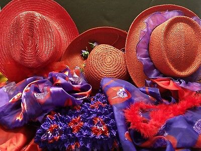 Vintage Red Hat Society Lot- 3 Hats, 2 Ponchos, Scarf & Silky Popcorn  Blouse