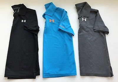 UNDER ARMOUR Lot 3 Boys Large Golf Polo Shirts Match Play Black Blue Gray YLG