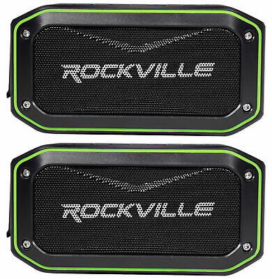 (2) Rockville ROCK ANYWHERE WaterProof Portable Bluetooth Speakers+TWS Linking