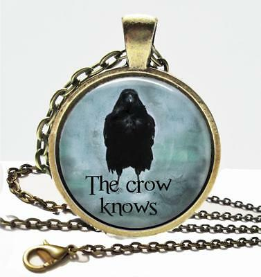 The Crow Knows Glass Top Pendant Necklace Handcrafted Crows & Raven Jewelry