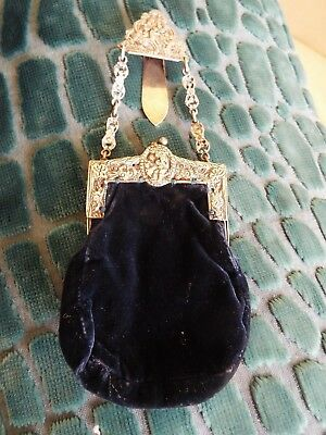 Solid Silver velvet dress evening bag purse 1901 A. Barrett & Sons Piccadilly