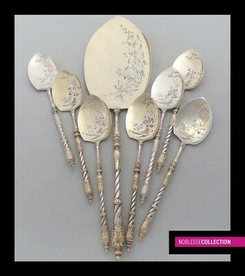 ANTIQUE 1890s FRENCH STERLING/SOLID SILVER & VERMEIL ICE CREAM SPOONS SET 8 pc