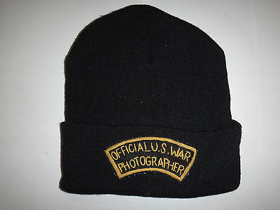 US Army OFFICIAL U.S. WAR PHOTOGRAPHER Black Knit Hat One Size Fits All