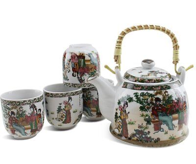 Colorful Antique Asian Hand Painted 33 FL oz Ceramic Teapot with 4 teacups set