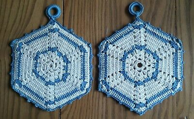 2 Hand Crocheted Cotton Potholders ~ Ivory With Blue Accents