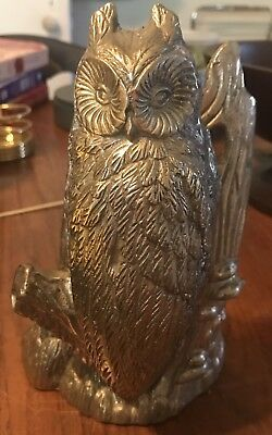 Vintage Brass Owl Figurine On Tree Branch Large 8 Inches High 5 Inches Wide.