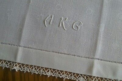 """Vintage 27"""" Irish Linen Towel ~ Hand Embroidery & Tatted Lace ~ Monogram Hkg"""