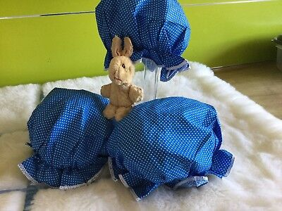 AUTHENTIC BABY GIRLS  TRUE VINTAGE BUNDLE PRAM SUN HATS  UNUSED 3/12 m 70s