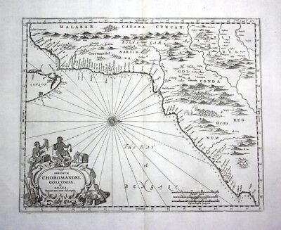 1730 India Malabar Coromandel coast map Karte Kupferstich engraving