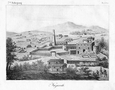 1830 - Nazareth Israel lithography Lithographie litho