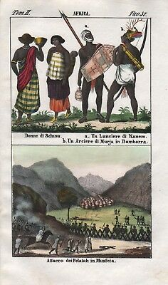 1840 - Kanem Bornu Bambara people Mali Africa Lithograph Negro natives