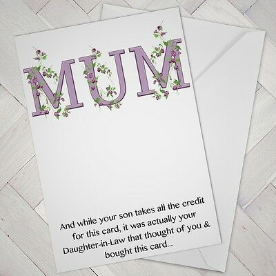Birthday MOTHERS Day Card Sarcastic Funny Humour SON CREDIT Mum In Law Mother