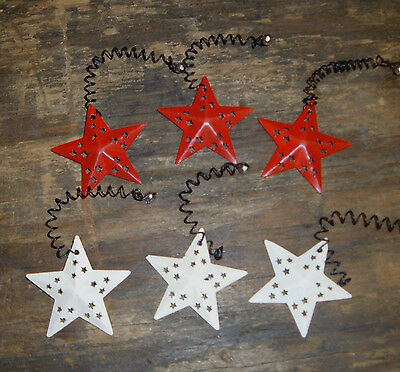 Primitive Star Ornaments Red Ivory Metal Mini Star Ornaments Set/6 Christmas
