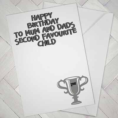 FUNNY BIRTHDAY CARD Brother Sister Favourite Child Humour Cheeky Banter Joke