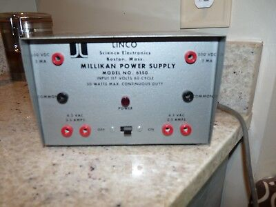 Linco Model 6150 Millikan Power Supply Science Electric 117 Volts 50 Watts 60 Cy