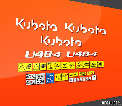 Kubota U48-4 Full Decal / Sticker Kit with Model Numbers & Warnings for Digger