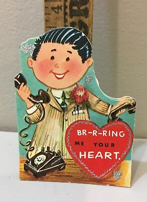 """Vtg Valentine Card  70s Executive Dial Telephone """"BR-R-RING"""" Your Heart Unused"""