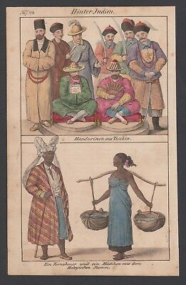 1830 Indien India Mandarin Tunkin Trachten costumes Lithographie lithograph