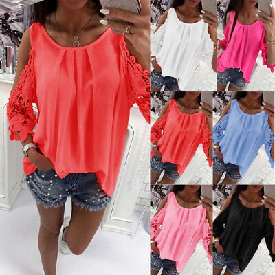 UK Womens Cold Shoulder Lace Sleeve Tops Summer Beach Casual Loose Shirt Blouse