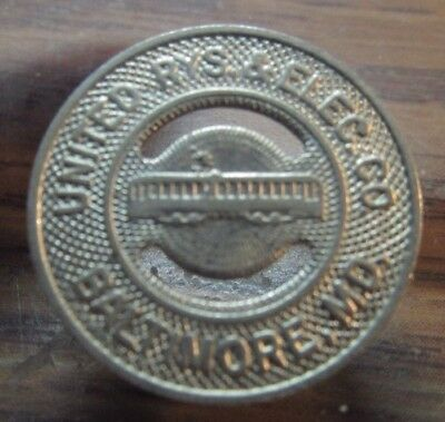 Very Old United Rys. & Elec. Co. Baltimore, MD Transit Trolley Token Maryland #2