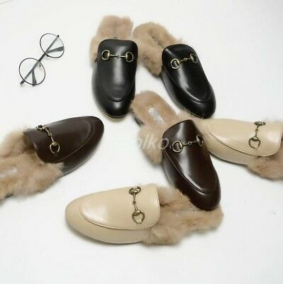 b4b5d5bd014c3 Womens Mules Genuine Rabbit Fur Lined Loafers Slippers Shoes leather mules  sz
