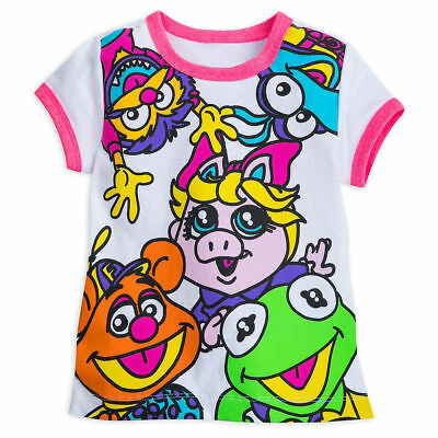 Disney Store Muppet Babies Ringer Tee T-Shirt Slubbed Jersey Knit Capped Sleeves